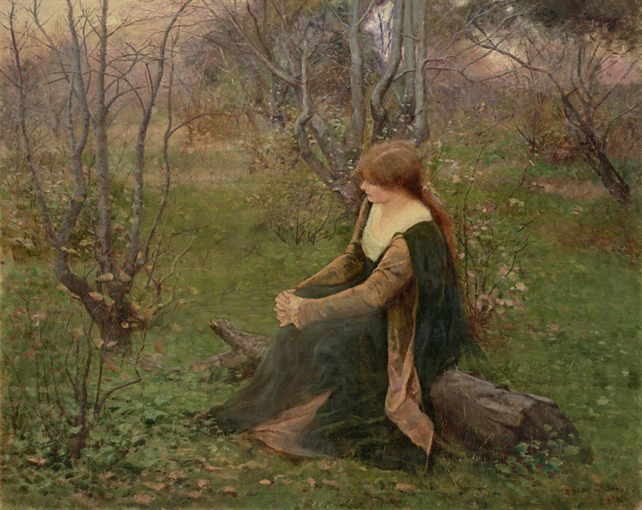 Frederick McCubbin, 'Autumn Memories', 1899. NGV Australia. This painting depicts the artist's wife, Annie McCubbin, at the Brighton property.
