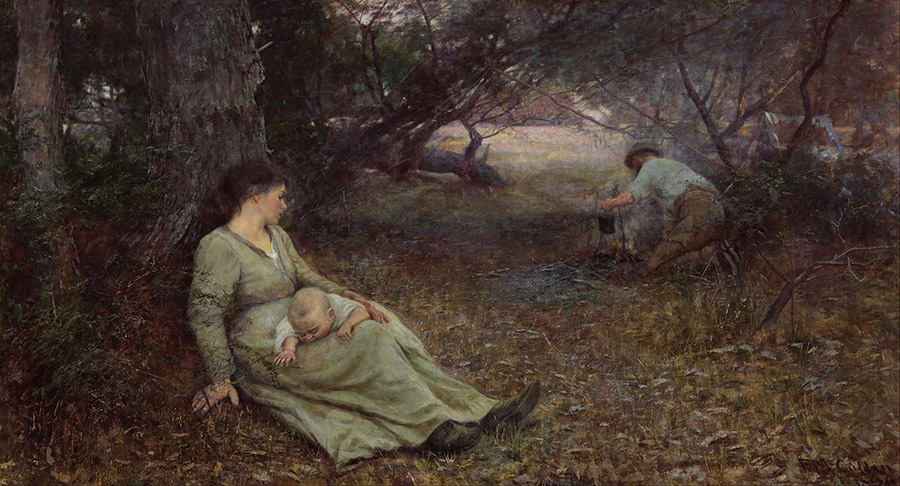 Frederick McCubbin, 'On the Wallaby Track', 1896. Art Gallery NSW. Painted in the Brighton garden with Annie, their baby son, and Annie's younger brother Michael Moriarty as models.