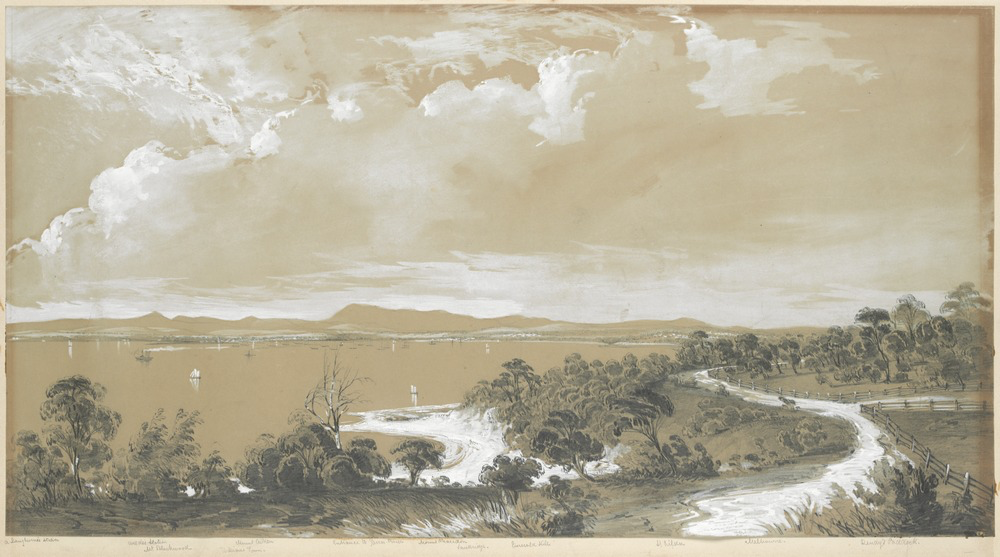 "George Alexander Gilbert, ""View of Hobson's Bay looking north from Brighton"", circa 1847. State Library Victoria."