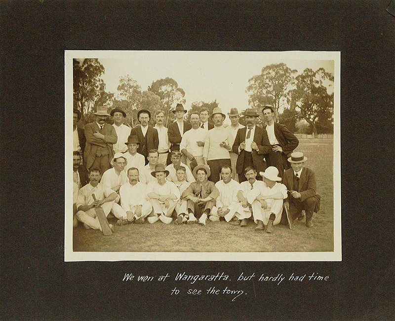 "Page from photo album: ""We won at Wangaratta, but hardly had time to see the town"". Brighton Historical Society collection."
