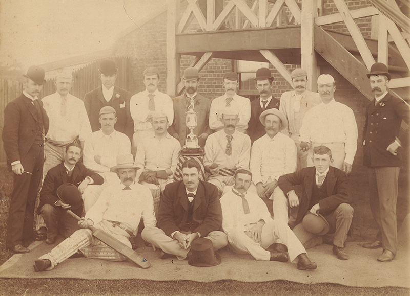 Brighton Cricket Club team of 1891-92 with championship trophy. Brighton Historical Society collection.