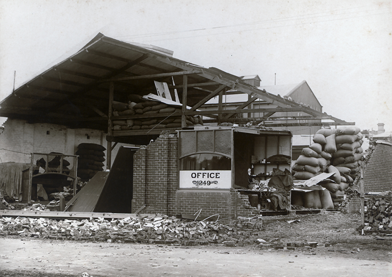 Damage to Mr J. A. Grant's hay and corn store in Well Street